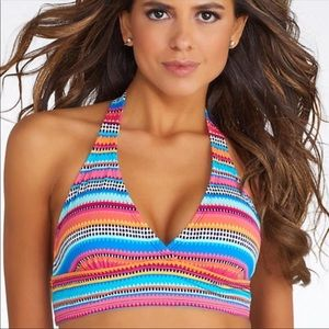 ANNE COLE TRIANGLE STRIPE HALTER BIKINI TOP